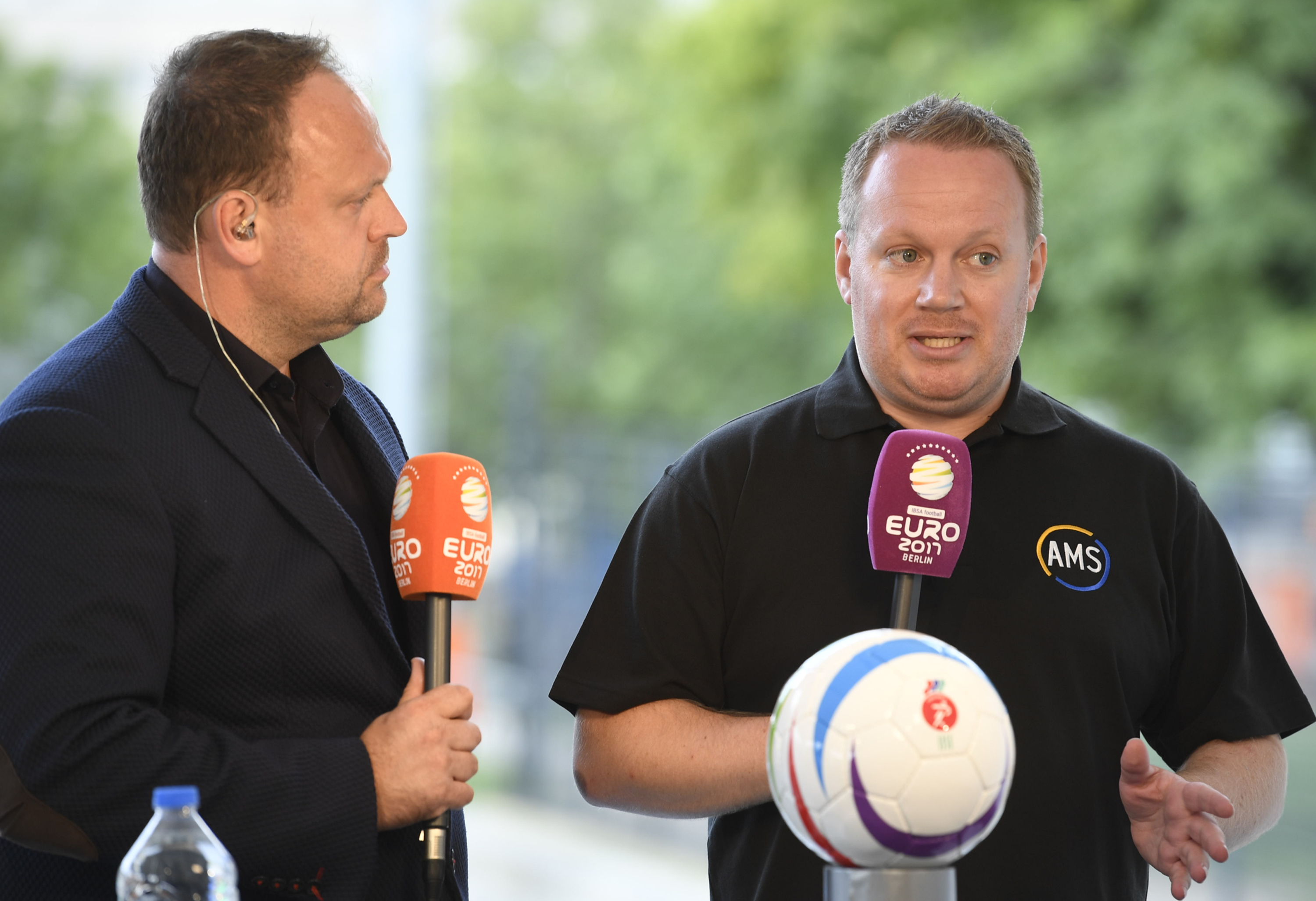 """Alan March (Left) was the host for the European Blind Football Championships 2017, Berlin, here interviewing LCFC Audio Describer, Pete Selby, who was the main commentator for the championships"""